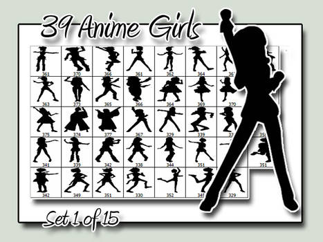 Anime Girl Silhouettes - Set 1