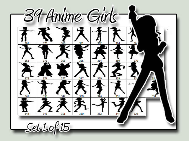 Anime Girl Silhouettes - Set 1 by psologist