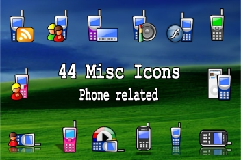 44 icons with a phone