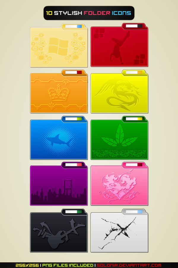 10 Stylish Folder Icons by Solonir
