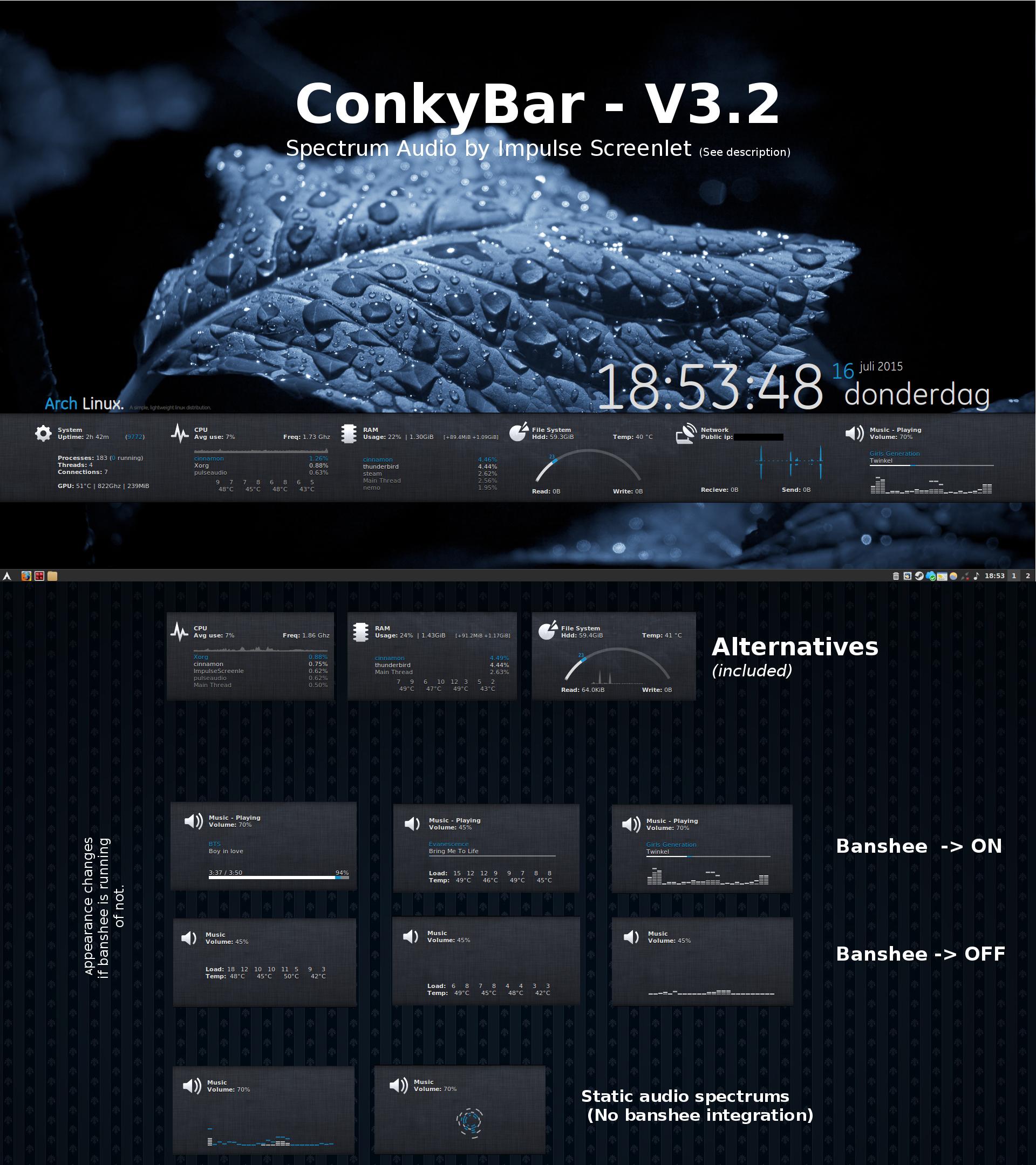 ConkyBar - Conky config [Conky 1.10]