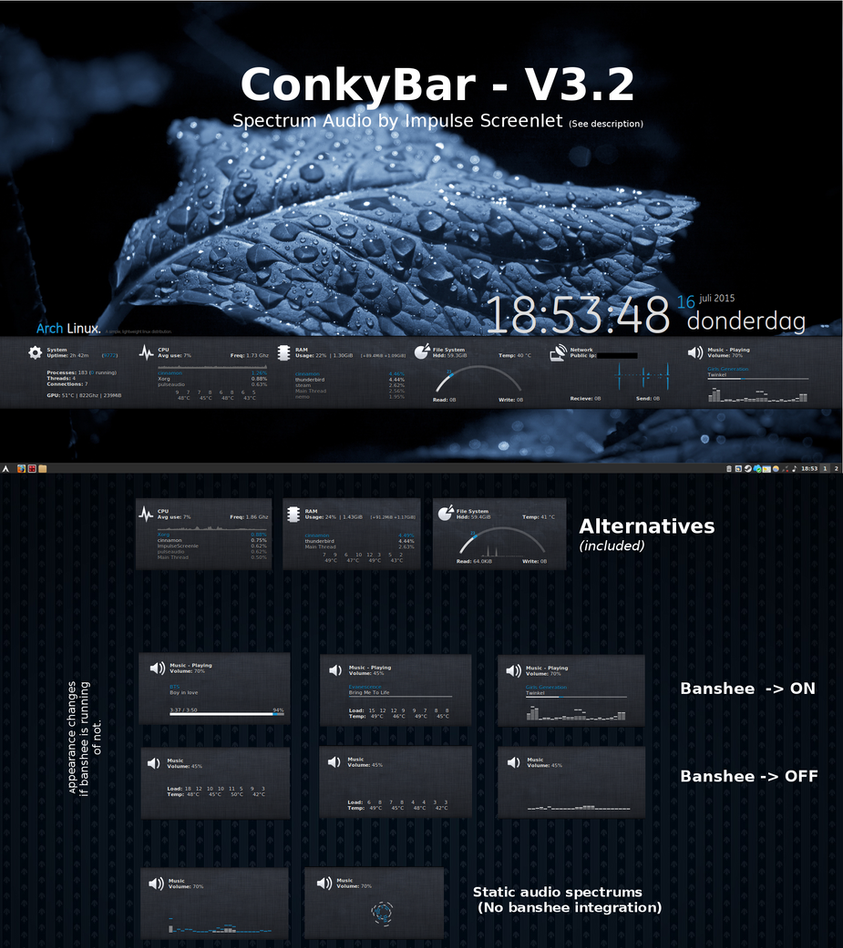ConkyBar - Conky config [Conky 1.10] by N00by4Ever