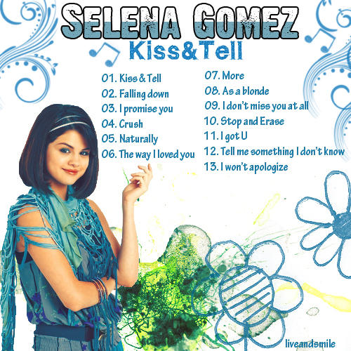 selena gomez kiss and tell album art. selena gomez kiss and tell cd.