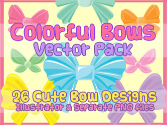 Vector Pack - Colorful Bows by shiropanda
