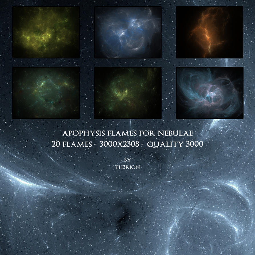Apophysis fractals for nebulae by th3rion
