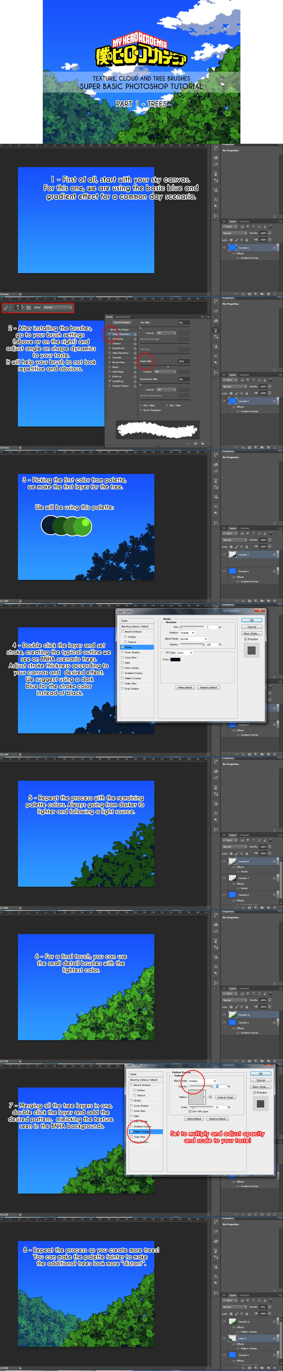 1- BNHA Tree Photoshop brush tutorial + download