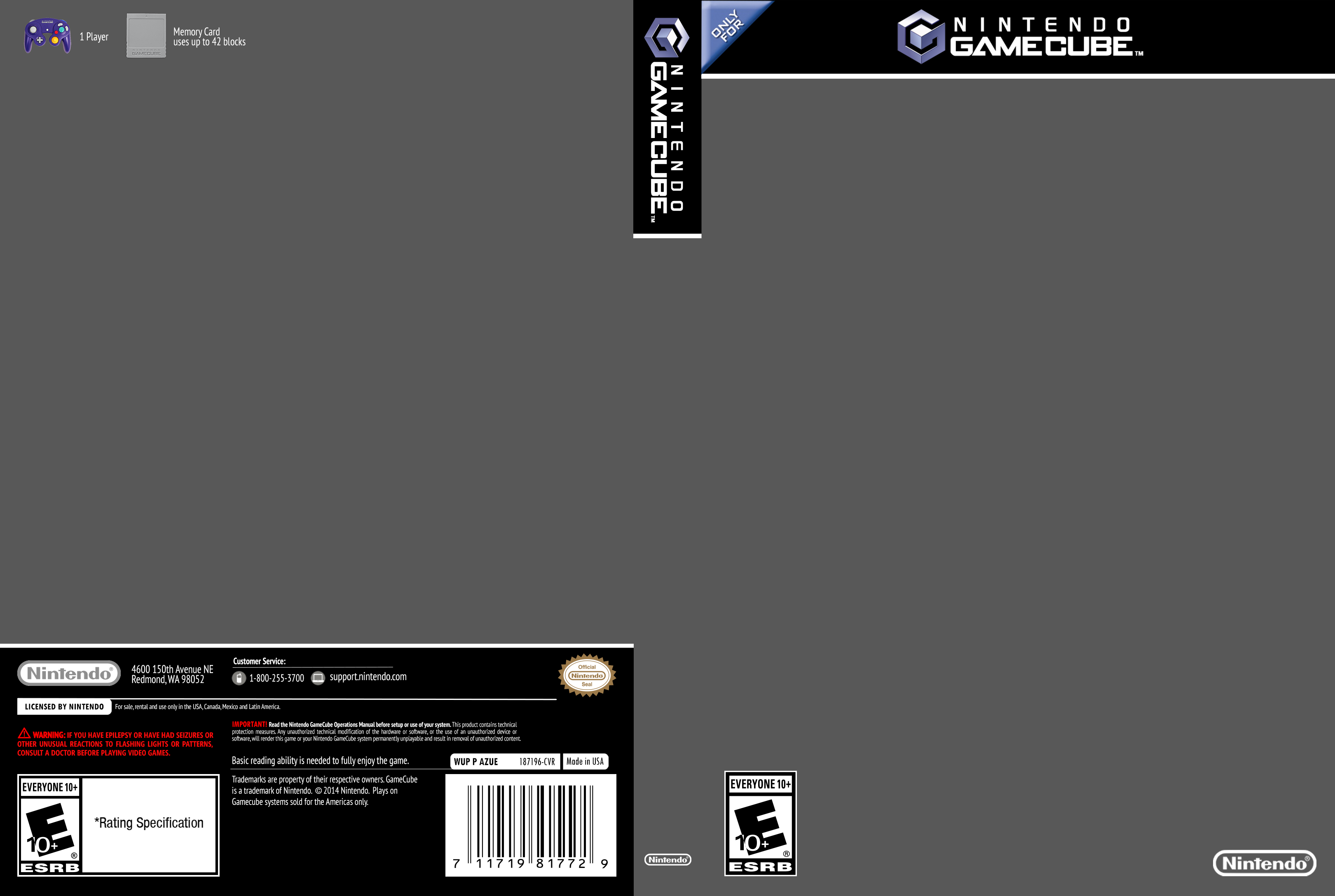 GameCube Cover Template