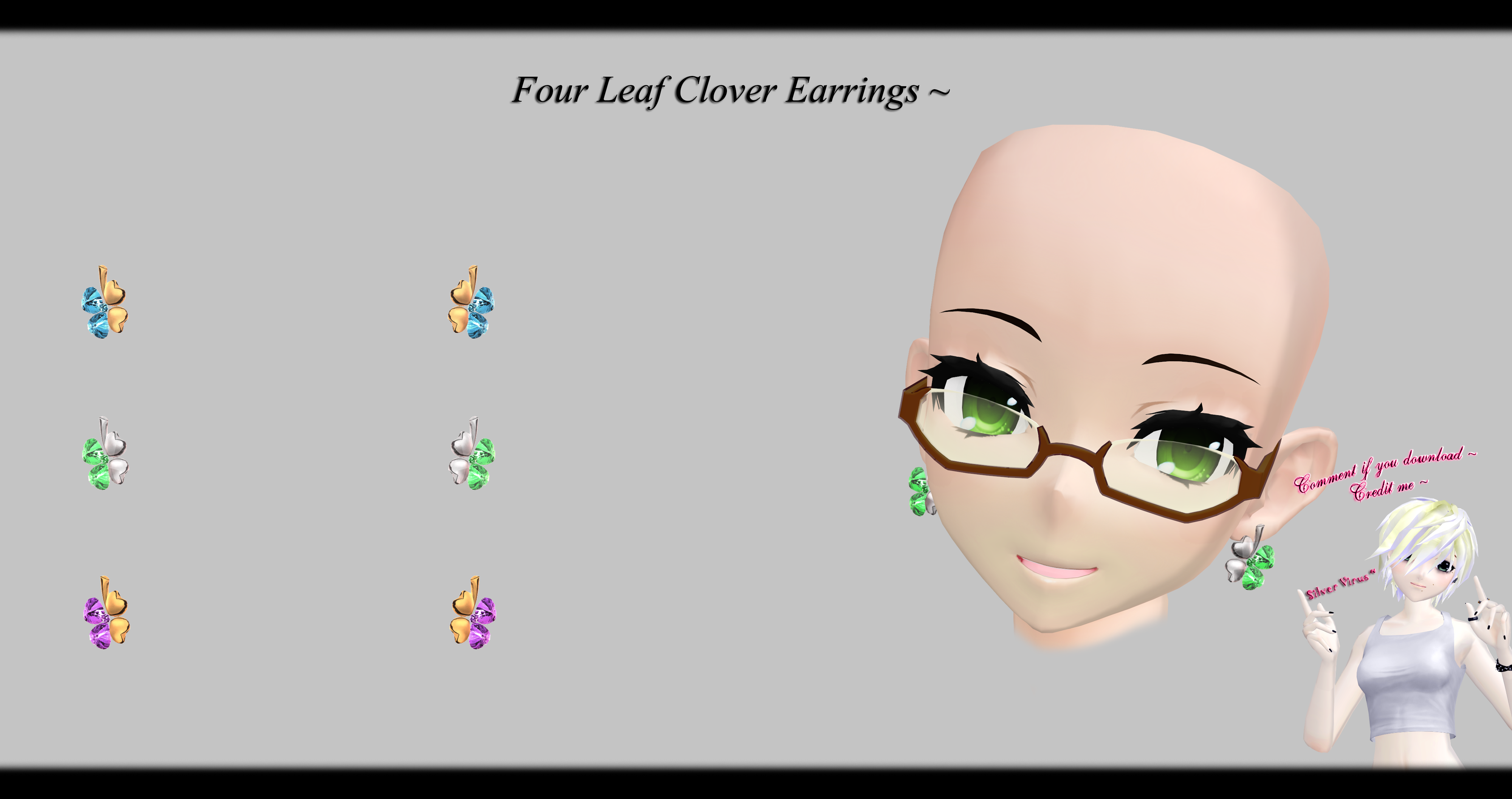 mmd four leaf clover earrings dl by o dsv o on deviantart