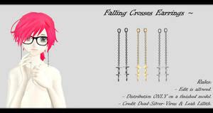 [MMD] Falling Crosses Earrings DL ~ by o-DSV-o
