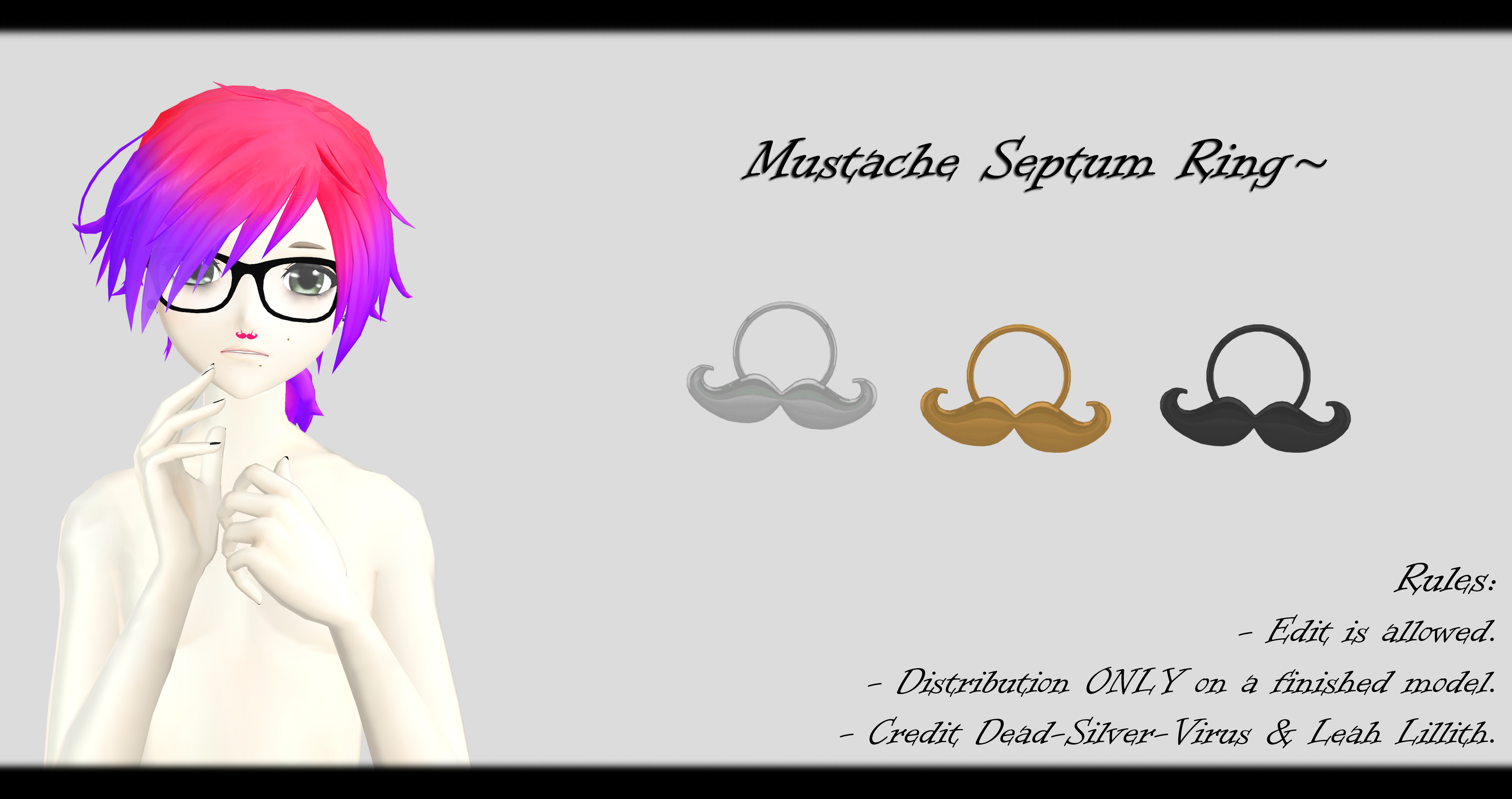 Mmd Mustache Septum Ring Dl By O Dsv O On Deviantart
