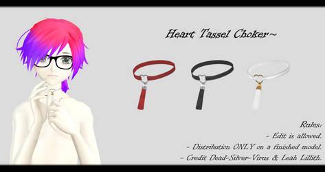 [MMD] Heart Tassel Choker DL ~ by o-DSV-o
