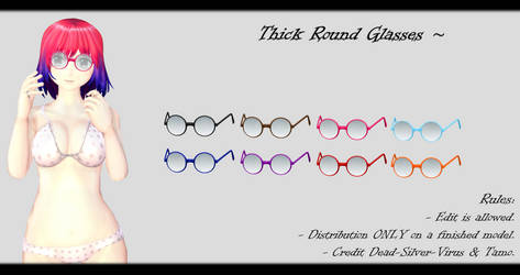[MMD] Thick Round Glasses DL ~ by o-DSV-o