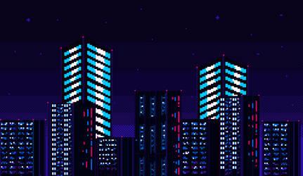 Landscape city pixel art