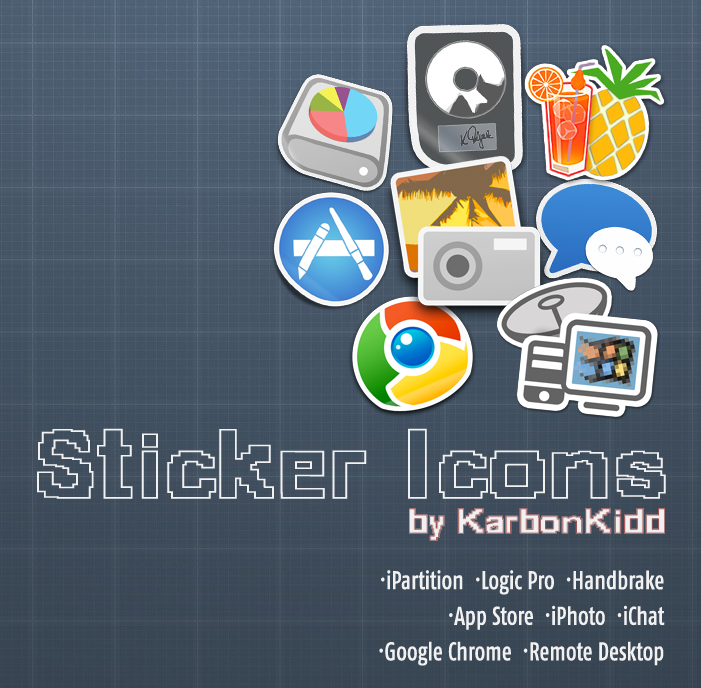 Handbrake/iPhoto/Logic/Chrome+More Sticker Icons by KarbonKidd