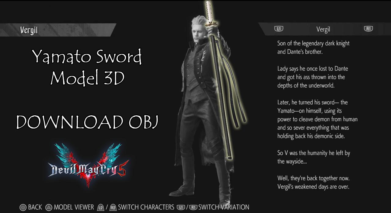 Vergil Yamato Sword Hd Wallpaper: Vergil's Yamato Sword (Model 3D)
