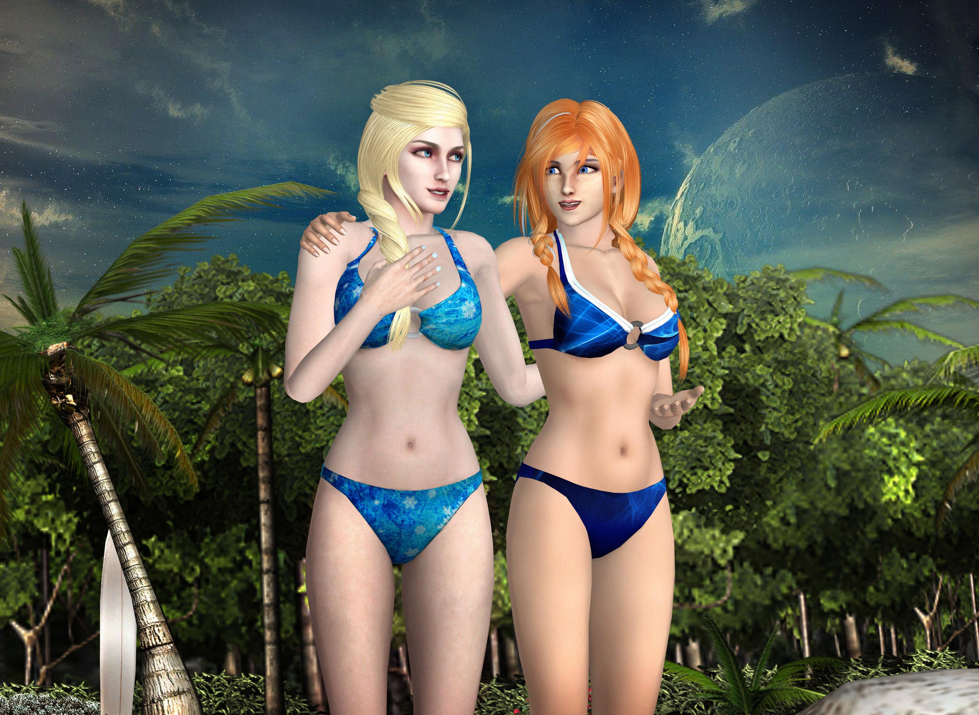 XNA: Frozen - Elsa and Anna Bikini Download by SovietMentality