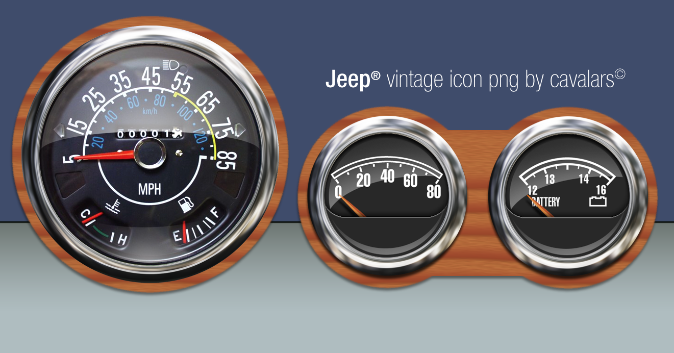 old jeep dashboard icon set by cavalars