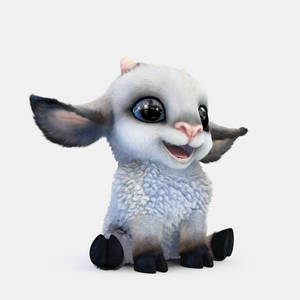 Cartoon sheep - Turntable Pose