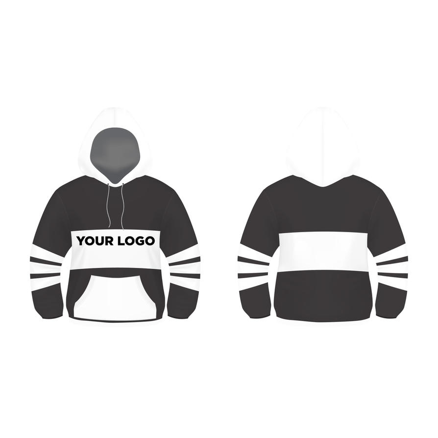 Black and White Hoodie Design Vector Template FREE by modern2143