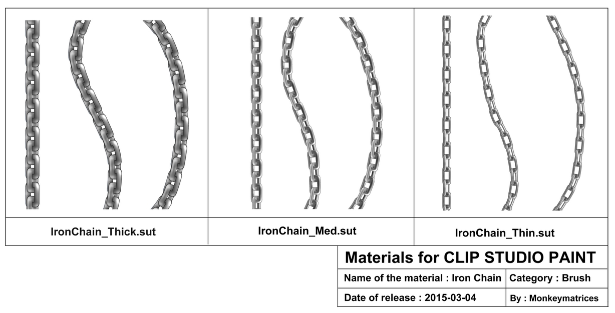 Clip studio paint brush material : Iron Chain by monkeymatrices
