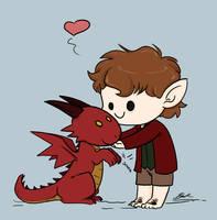 Animated - Chibi Bilbo and Smaug by caycowa