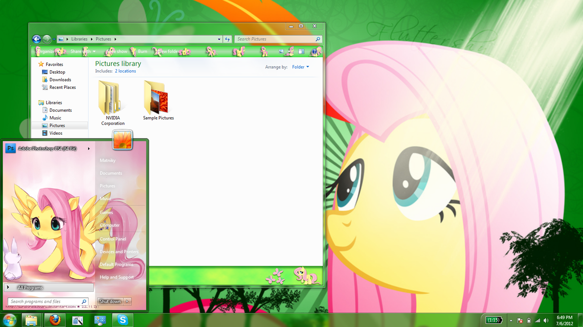 fluttershy windows 7 theme (old) by Matniky