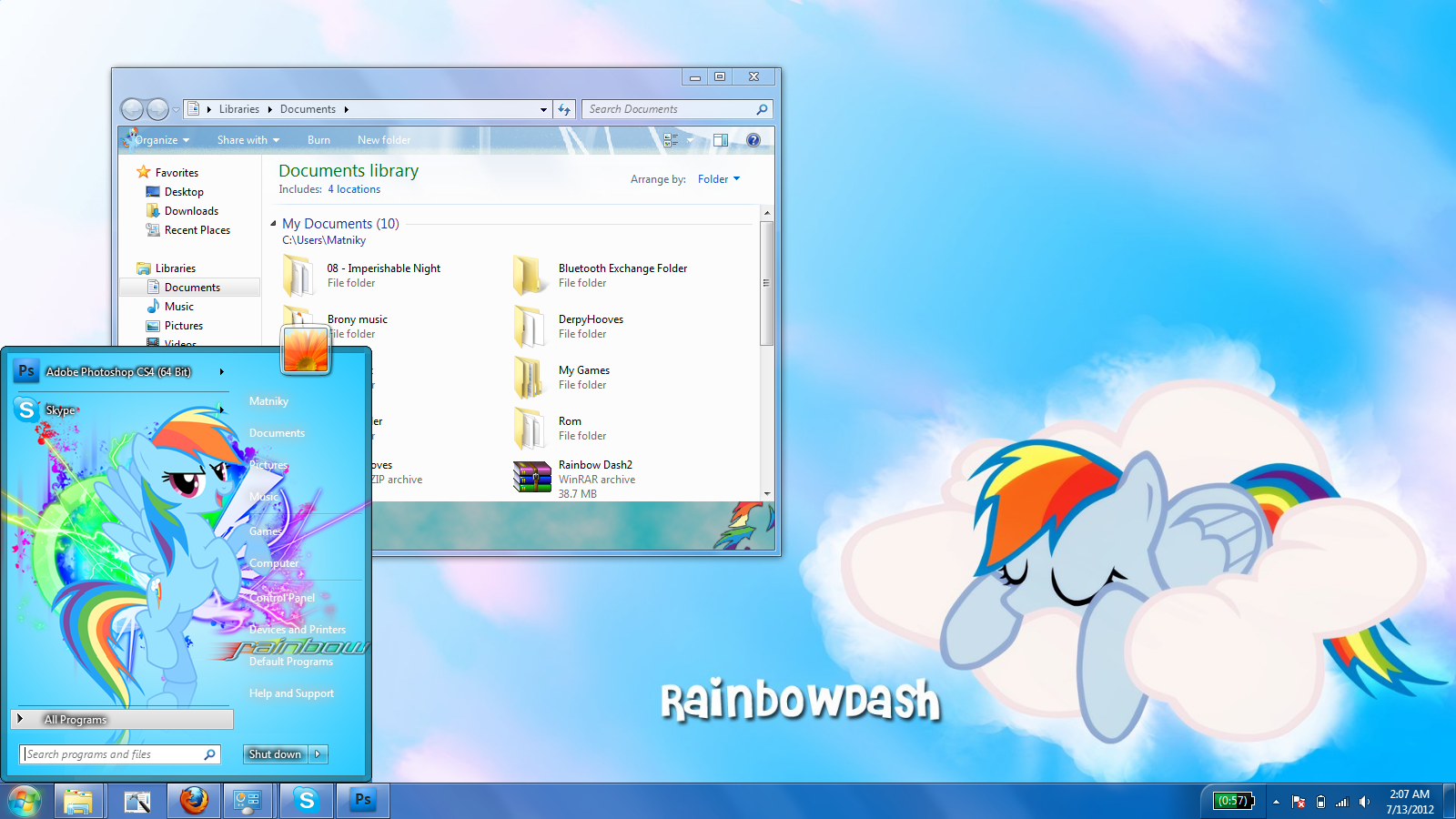 Rainbow Dash Windows 7 theme by Matniky