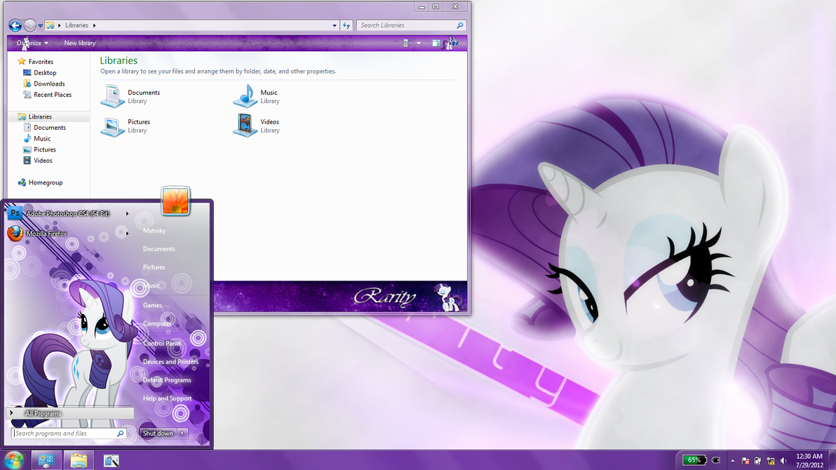 Rarity Windows 7 Theme by Matniky