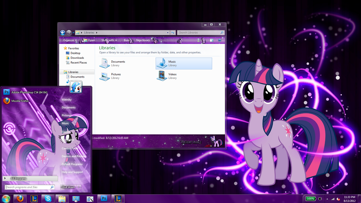 Twilight Sparkle Windows 7 Theme by Matniky