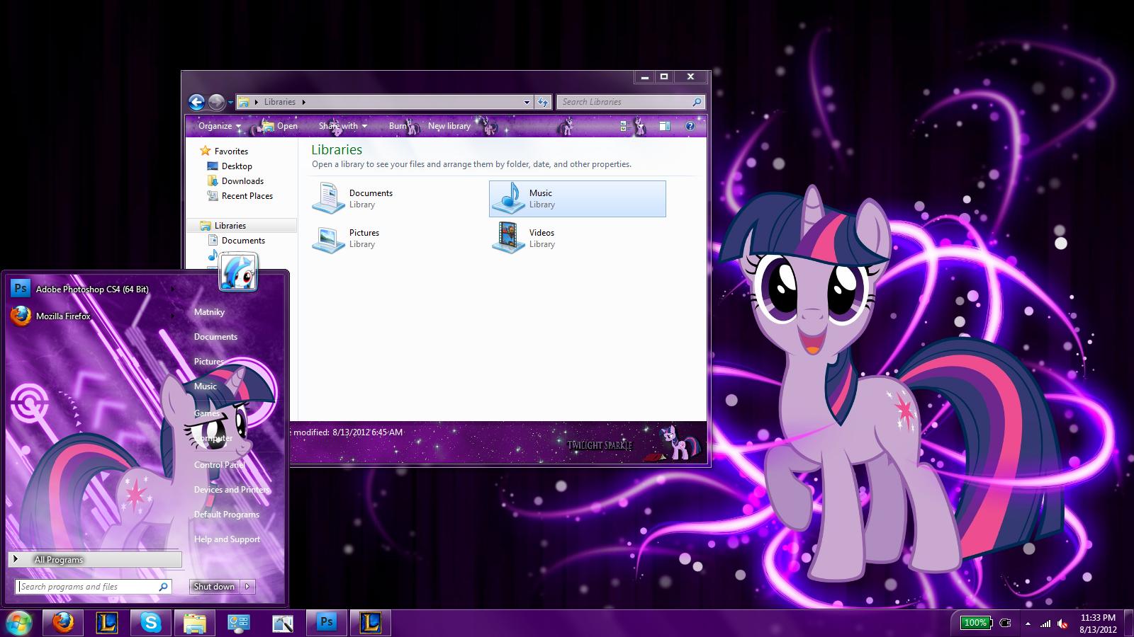 Twilight Sparkle Windows 7 Theme By Matniky