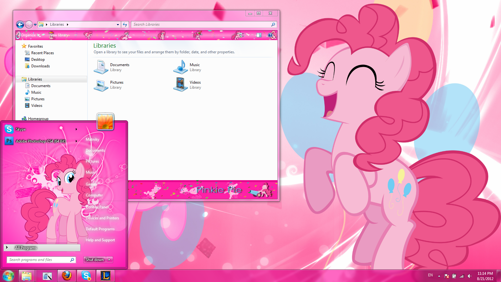Pinkie Pie Windows 7 Theme By Matniky