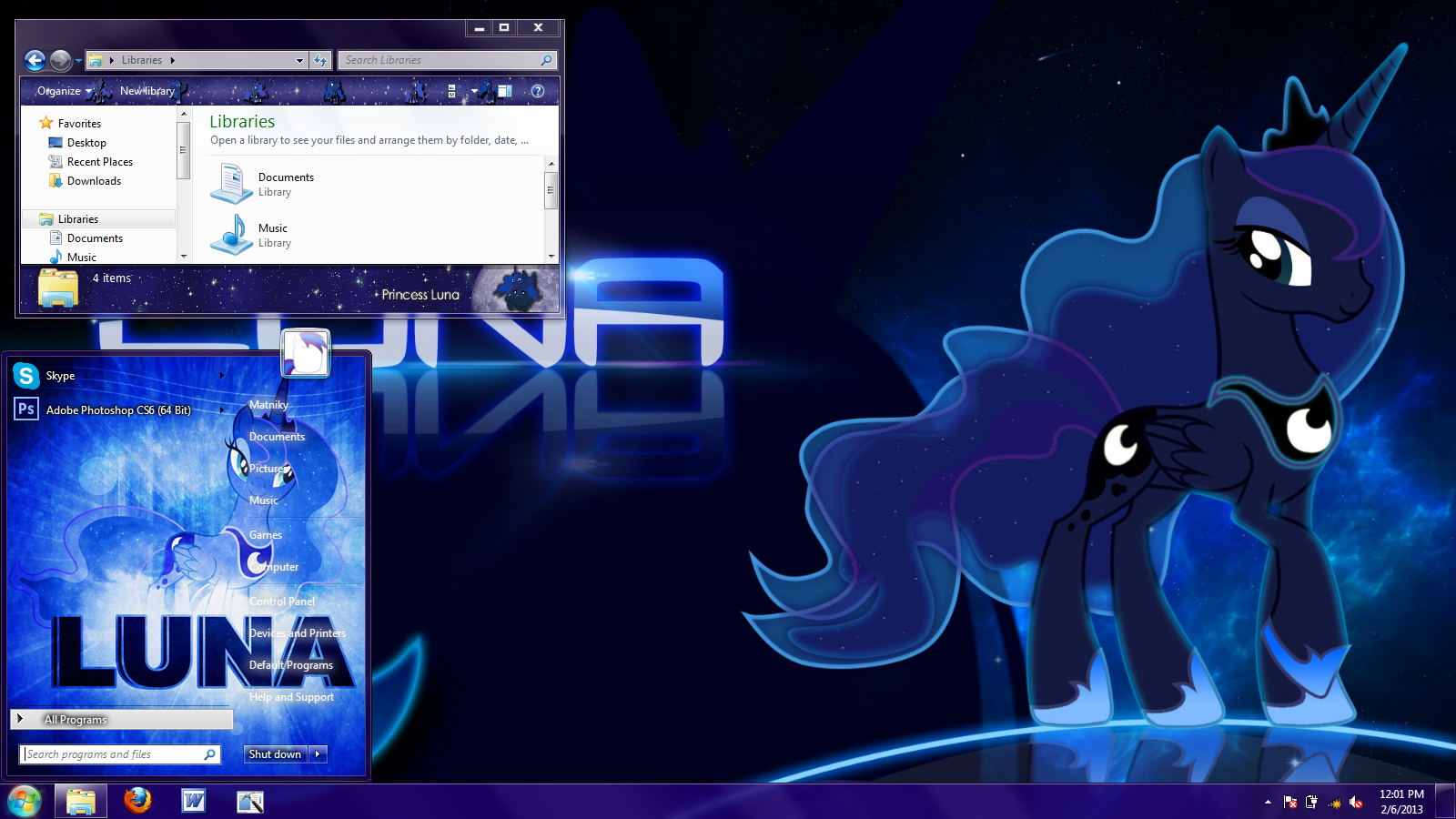 Princess Luna Windows 7 theme by Matniky