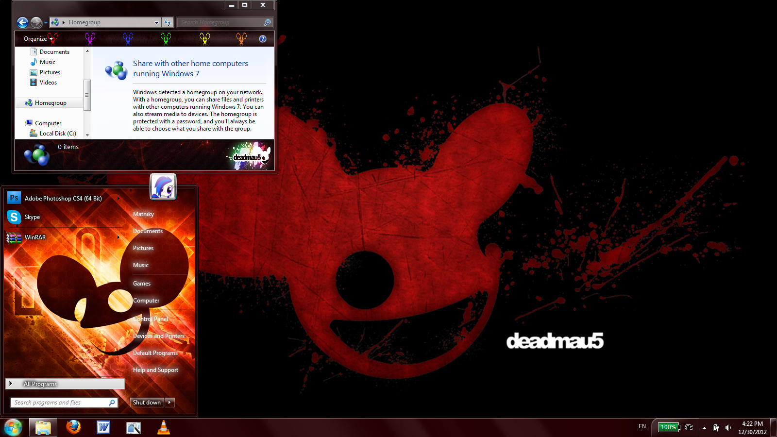 Deadmau5 windows 7 theme by Matniky