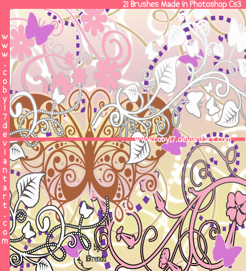 Swirls dotted S.and Butteflies by Coby17