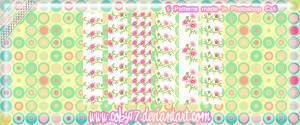 Pink Flowers Pixel Patterns by brenda
