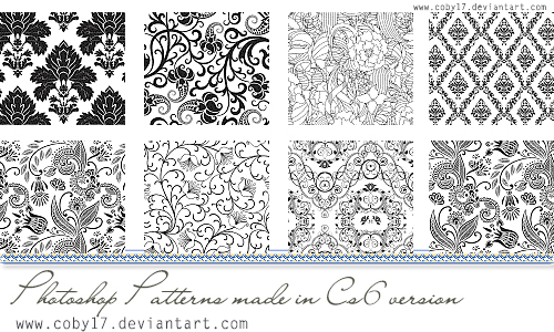 Floral Black and White Photoshop Patterns.