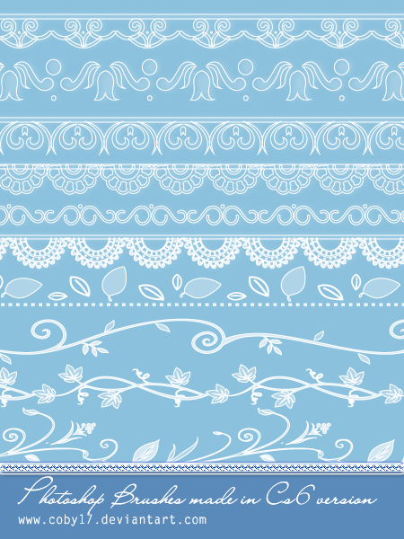 Lace and Floral dividers Photoshop Brushes.
