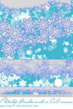 Snowflake Borders And Glitters Photoshop Brushes.