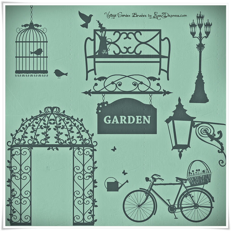 Romantic Vintage Garden High Res Photoshop Brushes by RussDepress