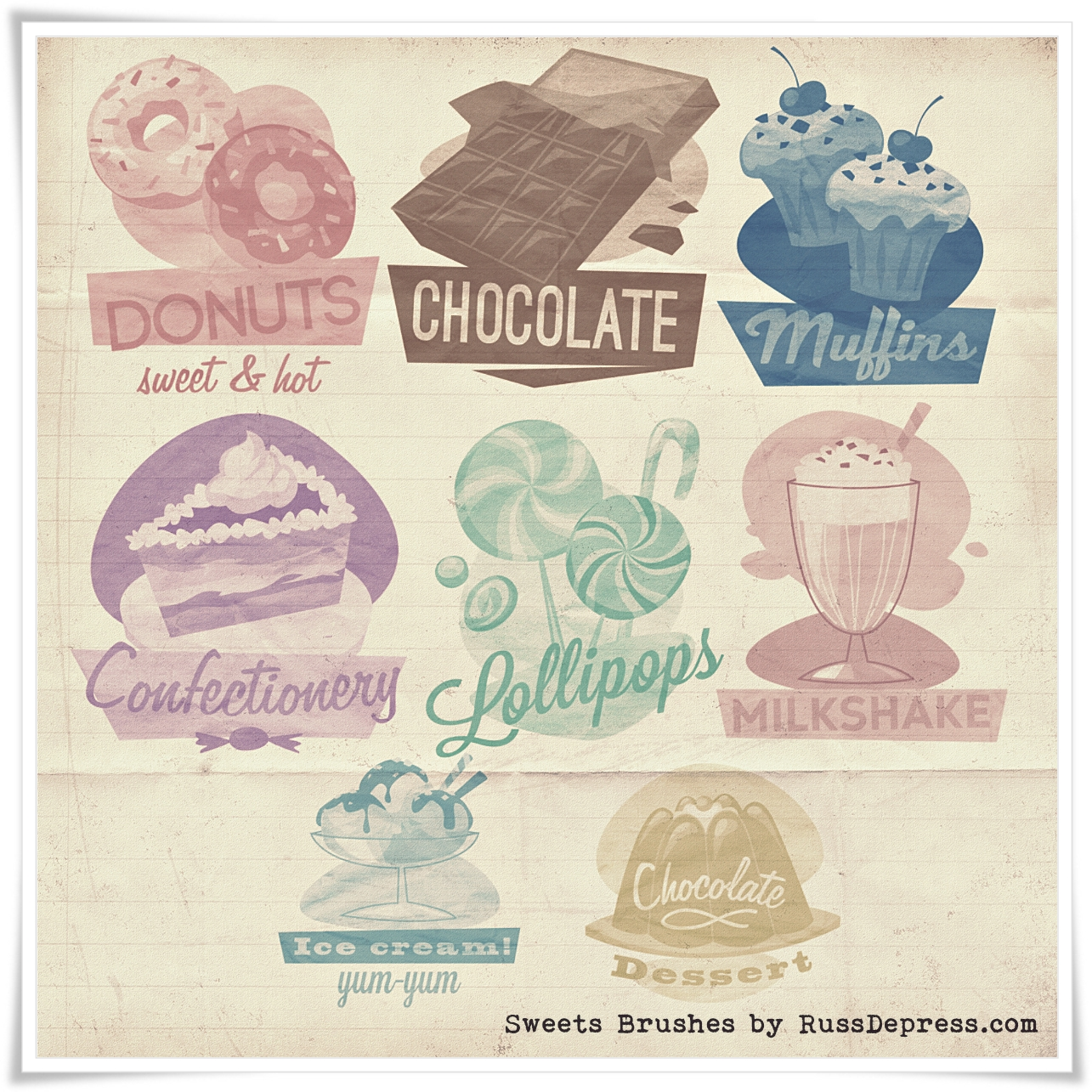Retro Sweets Shabby Chic High Res PS Brushes by iCatchUrDream