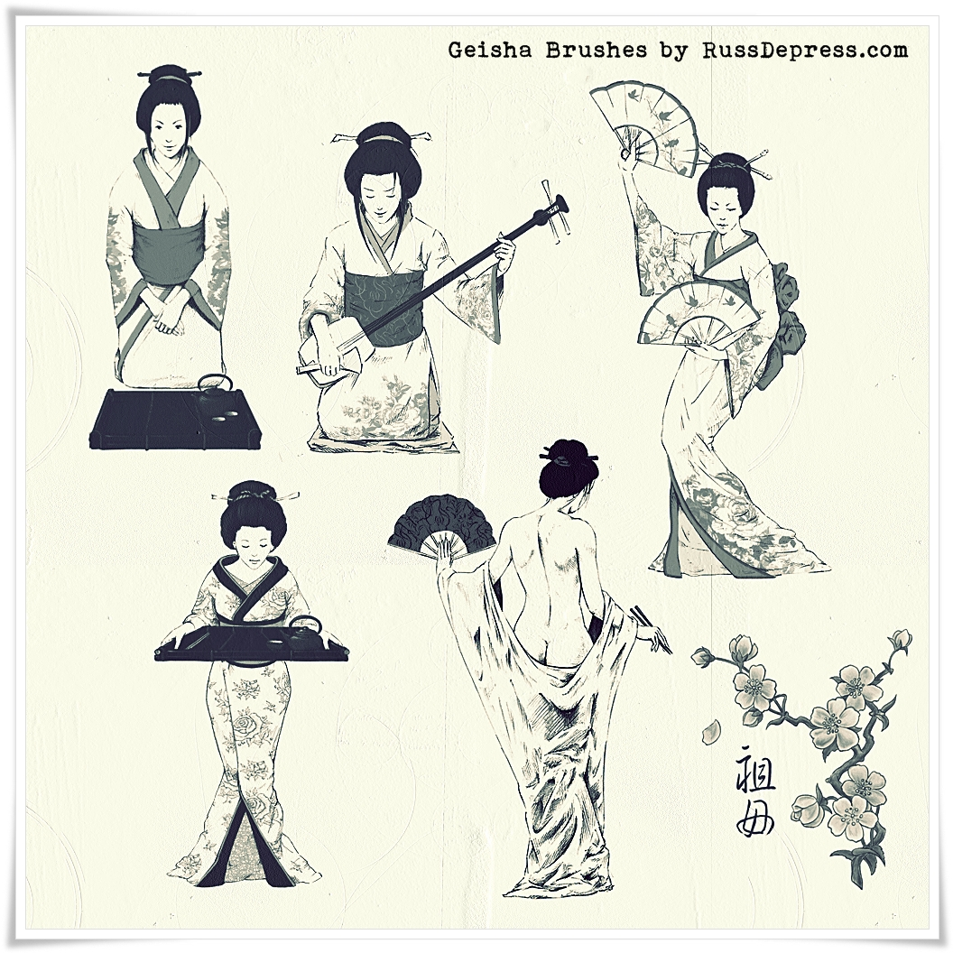 Geisha Japanese  Photoshop Brushes (medium size)