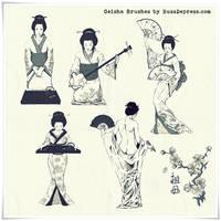 Geisha Japanese  Photoshop Brushes (medium size)