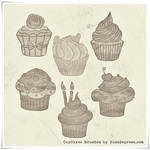 Cupcakes in Grunge High Res PS Brushes