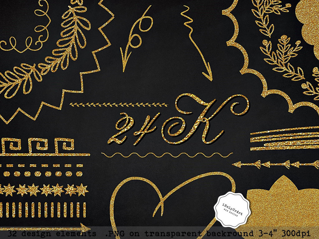 FREEBIE! 24K Gold Design Elements Clipart PNG by iCatchUrDream