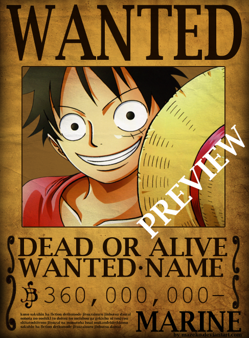 One Piece Wanted Poster Psd By Mazeko On Deviantart