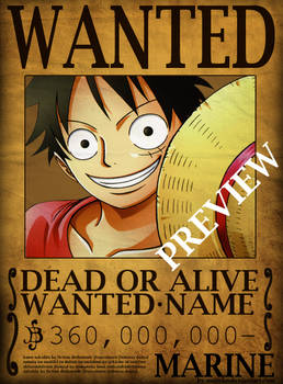 One Piece Wanted Poster PSD