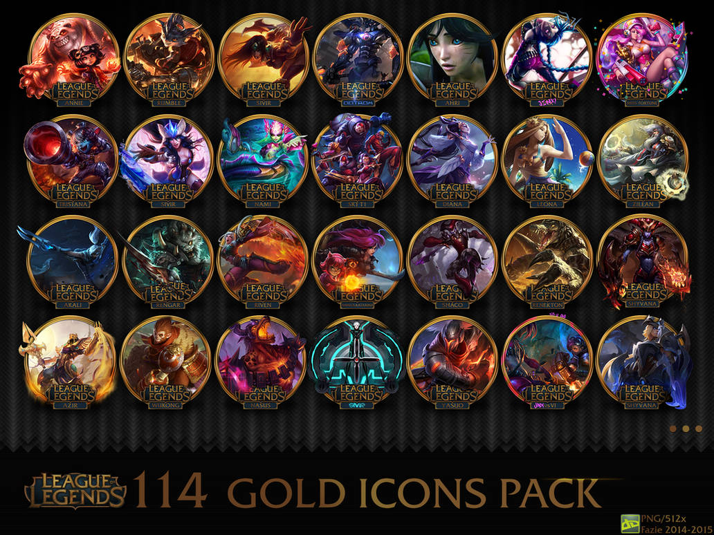 114 League of Legends gold icons pack