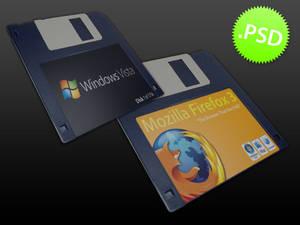 Custom Floppy Disk Label PSD