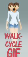 Two headed walk-cycle animation