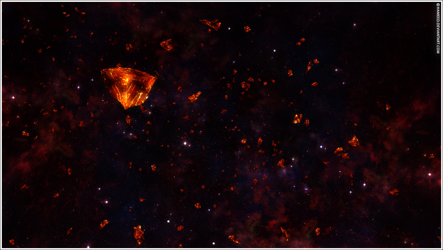 Glowing Asteroids Stock